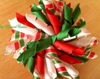 Korker Hair Bow- Red and Green Candy Ribbons