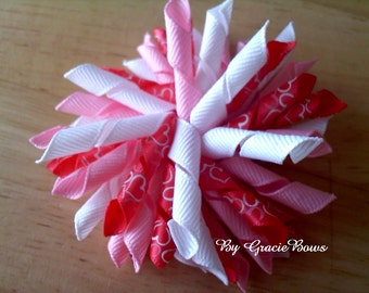 Lovey Hearts Valentine's Korker Hair Bow