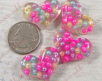 8/12/24 Pieces 29mm Bubble Rainbow Heart Flatback Resin Cabochons