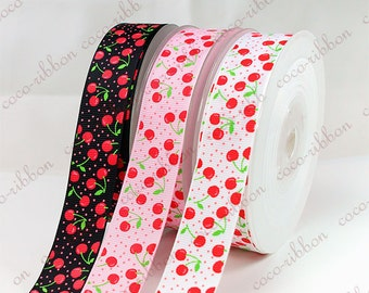 10Y 7/8 22mm Sweet Polka Dot Cherry Grosgrain Ribbon