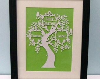 Framed Family Tree Original Papercut