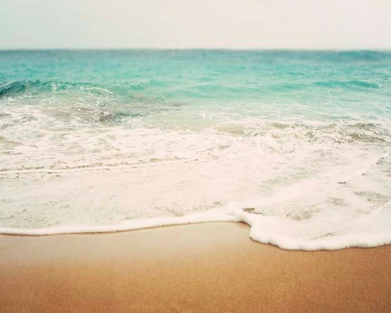 Beach Photography, Landscape, Summer, Turquoise, Ocean, Shoreline, Beach Home Decor, 8x10 Print