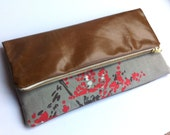Sale Multi style leather and abstract blossom print fabric clutch bag, large