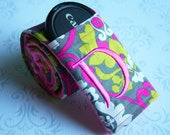 Camera Strap Cover with Lens Cap Pocket - Padded Minky - Photographer Gift - Pink and Green Damask with Your Choice of Colors