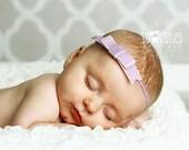 Baby Headband Lavender Velvet tuxedo bow elastic Headband, newborn Headband, baby girl headband,