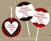 Valentines Day Party Favor Tags or Cupcake Toppers - DIY U Print