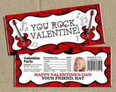 You ROCK Valentine - Valentine's Day Party Favors Candy Bar Wrappers - Digital U Print DIY