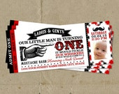 Red & Black Little Man Birthday Party Ticket Style Invitations - DIY U Print