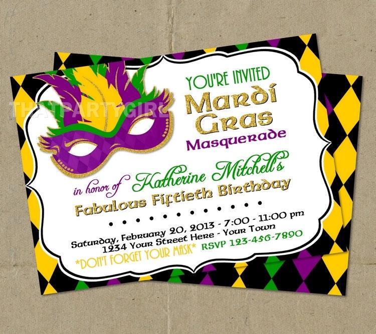 Mardi Gras Masquerade Party Invitations DIY U Print
