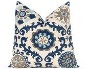 Euro Sham Decorative Throw Pillow Covers 24 x 24 Navy Taupe Aqua on Linen Cushion Sofa Pillows Rosa by Premier Prints