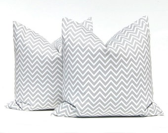 Gray Chevron Pillow Covers, Gray Pillows - Grey Pillow Covers, Euro Sham, Chevron Decorative Pillow Cover, 24 x 24, Grey Pillows