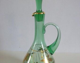 Vintage Green Glass Decanter , Gold Leaf Decanter