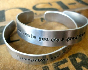 "Your Favourite Quote - Hand Stamped 1/2"" Metal Cuff - By Rawkette"