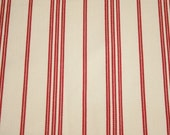 Lovely Red and Cream Striped Unused Vintage French Ticking Fabric - 58 Inches Wide x 36 Inches Long