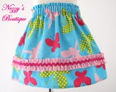 SALE - Butterflies on Blue Corduroy Twirl Skirt Sizes 3T and 5T