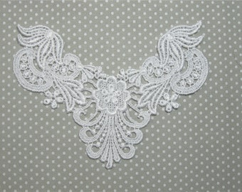 Venise Lace Applique Leafy WHITE Versatile Venice Crazy Quilting Yoke