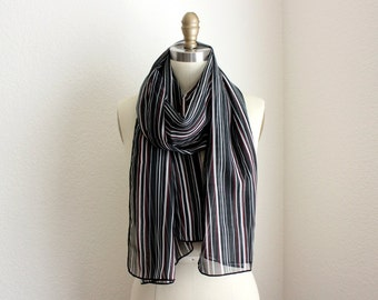 Extra Long Scarf, Sheer Pinstriped and Lightweight