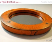 15% Off Holiday Sale - Orange Ring Collar Mirror - Antique Foundry Pattern