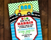 Printable Invitation Design - FUN BUS - Wheels on the Bus Inspired Collection - DIY Printables by The Paper Cupcake