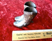 Cowboy Boots  Metal Match Stick or Toothpick Holder  Vintage Western Americana 3""