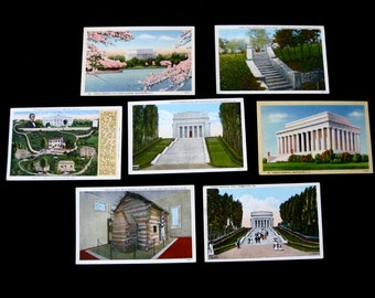 Abraham LINCOLN  Lot of 7 ORIG. Vintage Linen Postcards