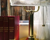 Vintage Brass Glass Banker's Lamp