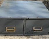 ON SALE-industrial steel file cabinet 2 drawer steelmaster 16 by over 18 inches rustic storage sewing pattern storage