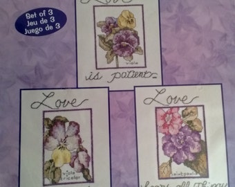 Love is Patient... Counted Cross Stitch Kit Set of 3 Designs  Bucilla 43192