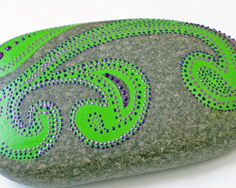 Hand Painted Green and Purple Scroll Work Rock