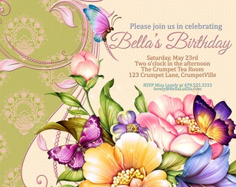 Birthday Party Invitation, Party Invitations, Mothers Day Party, Spring Birthday Card