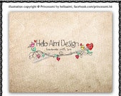 Custom Premade Logo Design - sketch hand drawn love heart swirl branch birds photography business boutique logo by princess mi logo1233-1