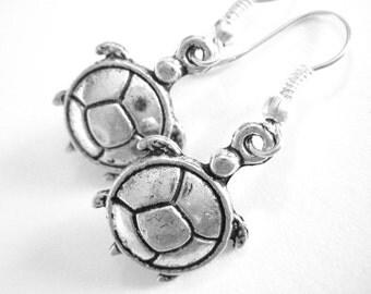 Sea Turtle Jewelry - Sterling Silver Turtle Earrings -  Tortoise Earrings - Silver Ocean Jewelry 211