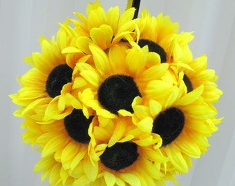 Sunflower wedding flower ball pomander flower girl kissing ball wedding decoration
