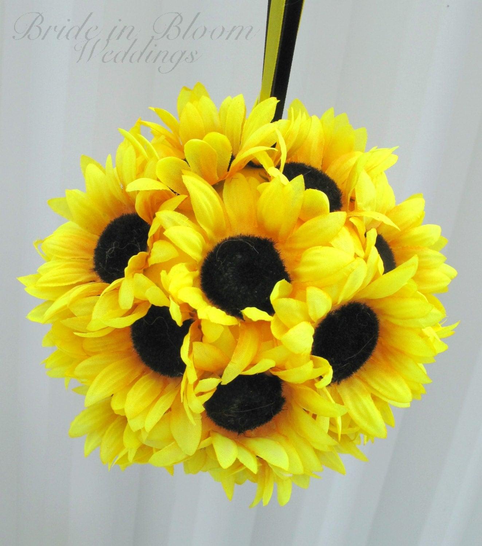 Sunflower wedding flower ball pomander girl kissing
