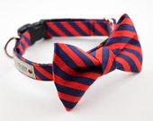 Navy Red Orange Stripes Dog Bowtie Collar