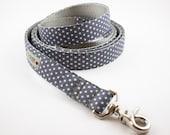 Gray Polka  Dot Dog Leash
