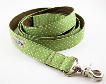 Celery Green Polka Dot Dog Leash