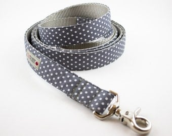 Gray Polka  Dot Dog Leash
