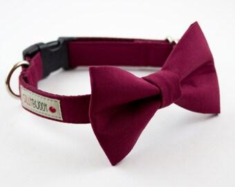 Solid Burgundy Dog Bowtie Collar