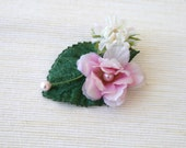 Pink Cherry Blossom and Cream Hair Clip With Green Leaf