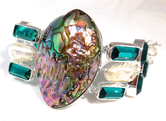 """CLEARANCE, Abalone Shell, mabe pearl, green amethyst, solid sterling silver Bracelet, 55 grams, 7 1/2"""" adjustable"""