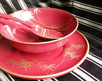 Lacquer wood Ware Art Deco Salad Bowl Set