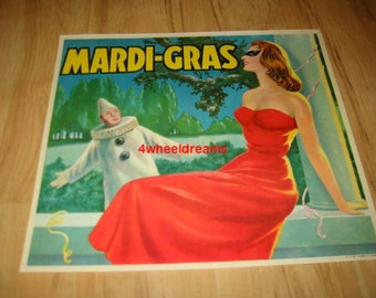 1950s Mardi Gras Masked Woman Clown Crate Label
