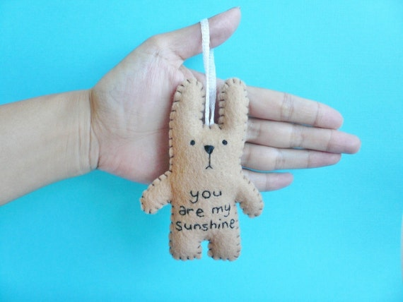You are my sunshine - Christmas ornament, baby shower decoration, gift, or embroidered tree decoration