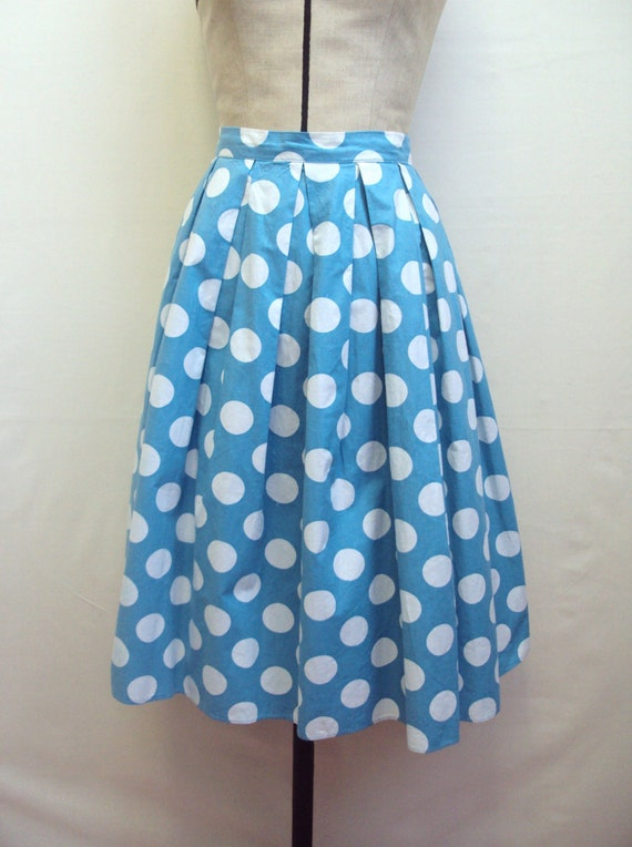 sale 1950s blue white polka dot day skirt by fespa fashions