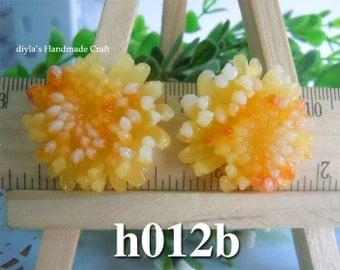2 pieces 30mm High Quality Antique Orange Chrysanthemum Resin Cabochon Flowers  (h012b)