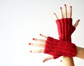 Red fingerless gloves winter gloves Red knit mittens accessories for women