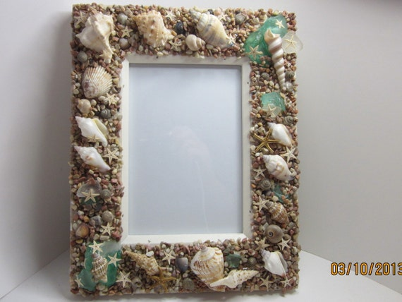 Beach Decor Shell Seashell Frame Green Sea Glass, Starfish FREE SHIPPING