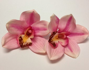 Silk Flowers - Two JUMBO Pink Orchids - 4 PLUS Inches - Artificial Orchids