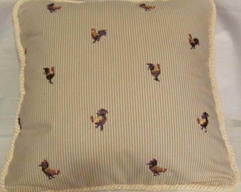 French Country BlueYellow Ivory Red  Rooster Pillow Hen Toile Provence
